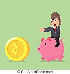business gorilla riding piggybank chasing coin