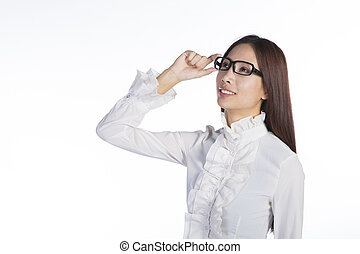 businesswoman adjusting glasses - young asian business woman...