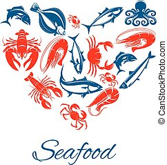 Seafood poster in heart shape vector symbol - Seafood vector...