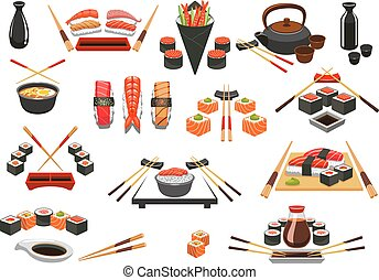 Seafood, sushi, sashimi vector icons and emblems - Sushi...
