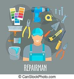 Repairman worker with work tools vector poster - Repairman,...