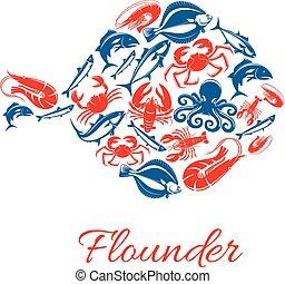 Seafood poster in shape of flounder fish symbol - Flounder...