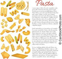 manifesto, maccheroni, vettore,  sorts,  spaghetti,  pasta