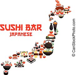 Seafood sushi in shape of vector Japan map - Seafood in...