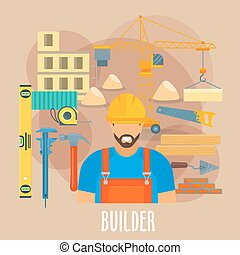 Builder worker with building work tools poster - Builder...