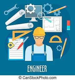 Engineer or builder worker with work tools poster