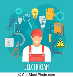 Electrician worker with electric repair tools - Electrician...