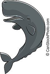 Cachalot sperm whale isolated vector icon - Cachalot...