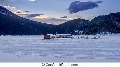 Lake Minnewanka in Winter near Banff Alberta Canada