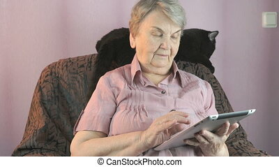 Aged woman sits at a armchair next to a black cat - Aged...