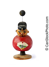 The Red Auspicious Chinese Doll of Chinese New Year on White...