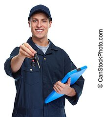 Car mechanic. - car mechanic giving car key in isolated...