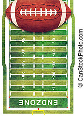 American Football and Field Grunge Background - A retro...