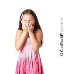 Chuckle. - Portrait of a little girl hiding her smile in her...