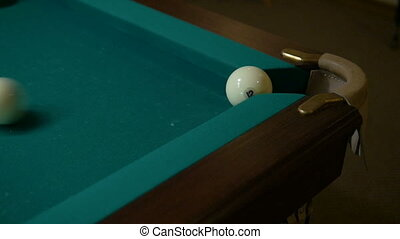 Russian billiards. A series of balls enters the pocket. -...