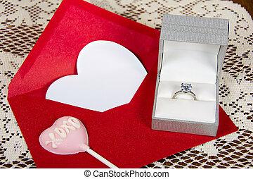 diamond ring with pink valentine sucker - pink valentine...