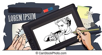Girl scolds smartphone. People in retro style. - Stock...
