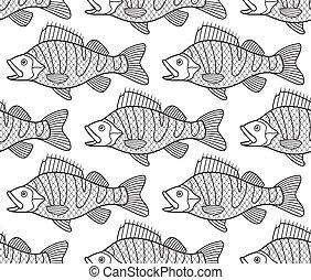 Bass fish contour seamless pattern - Seamless pattern of the...