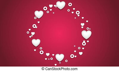 Beautiful hearts St Valentines Day video clip - Rotating...