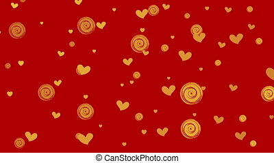Golden hearts and circles on red background motion graphic...