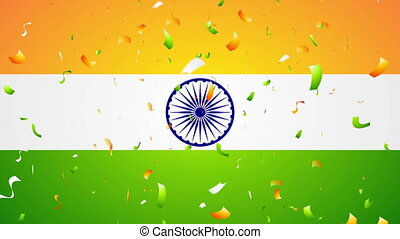 Bright confetti on Indian flag motion background - Bright...