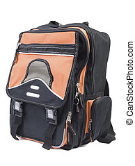 Backpack | Isolated - Black backpack with orange details...