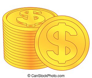 Dollar coins icon - Illustration of the abstract gold...