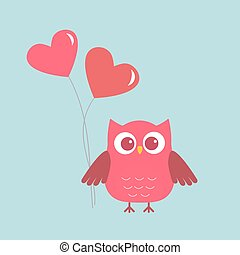 Cute owl with pink Hearts-ballons. Card for Valentine day....