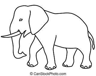 Elephant contour icon - Illustration of the cartoon elephant...