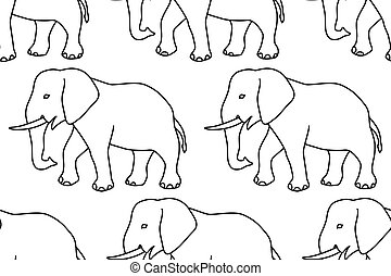 Elephant contour pattern - Seamless pattern of the cartoon...