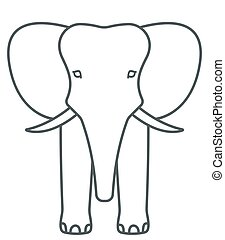 Elephant face contour icon - Illustration of the cartoon...