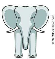 Elephant face icon - Illustration of the cartoon elephant...