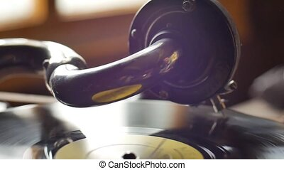 Old Gramophone, playing a record, close up Loop-able styled...
