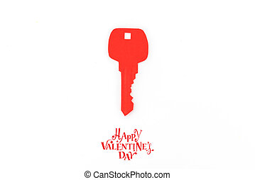 Paper cut of Key for heart as a symbol of love with Happy...