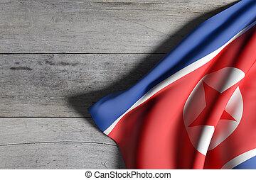 Democratic Peoples Republic of Korea flag waving - 3d...