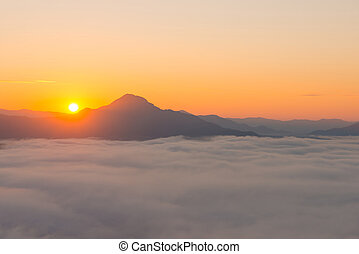 beautiful sunrise with mist in the morning at Phutok