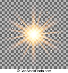 Gold rays light effect isolated on transparent background....