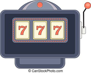 Triple sevens on slot machine  Gambling jackpot vector