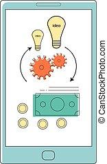 Idea to money converter mobile application concept....