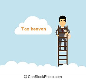 Businessman with money bag on ladder in the sky.Tax haven...