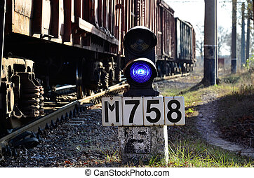 Railroad sign with the railway background - Railway...