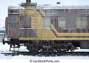 Frozen car of passenger train