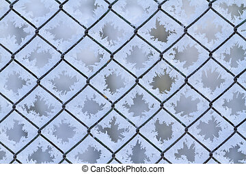 mesh netting covered with frost, snow structure