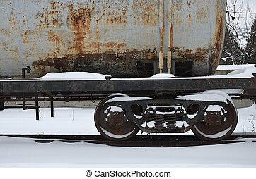 Parts of the snowy freight railcar - Detailed photo of snowy...
