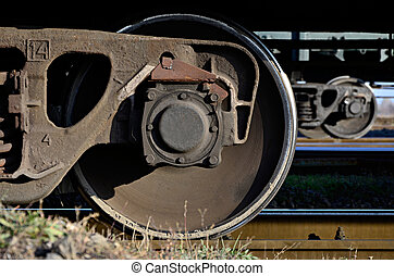 Parts of the freight railcar - Detailed photo of railway...