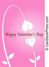 Two heart paper cut flowers and happy valentine's day on...