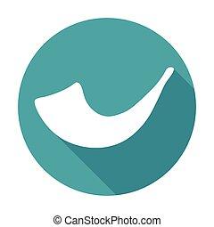 White image of shofar horn - Flat white icon of shofar horn...