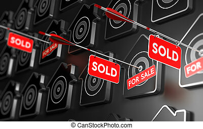 Real Estate Sold Sign Concept. - Many houses symbols over...