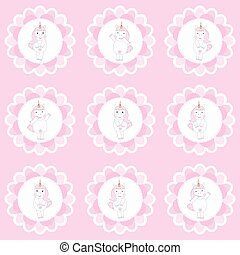 Birthday cupcake topper with cute unicorns on flowers frame...