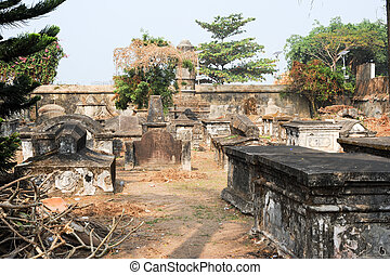 The old Dutch cemetery of Fort Cochin on India